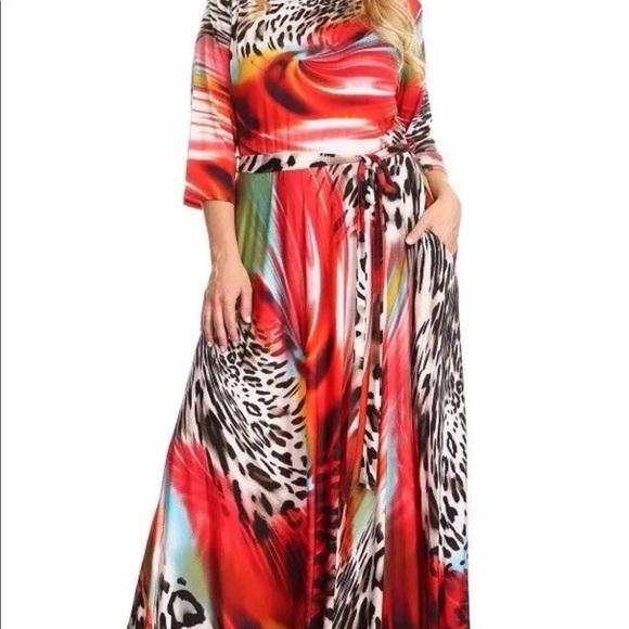 Sexy Diva Dresses Plus Size Leopard Boho Fit Flare Maxi Dress 5x